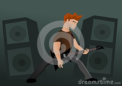 Heavy metal guitar player