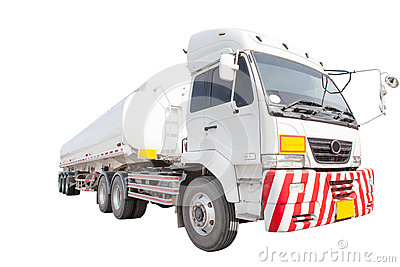 Heavy oil container truck isolated white background