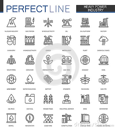 Free Heavy Power Industry Thin Line Web Icons Set. Factory And Renewable Energy Outline Stroke Icons Design. Royalty Free Stock Photography - 93841167