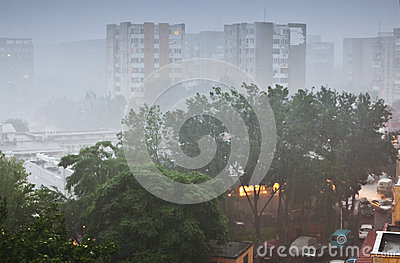 Heavy rain in city