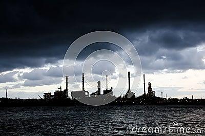 Heavy rain at Oil Refinery