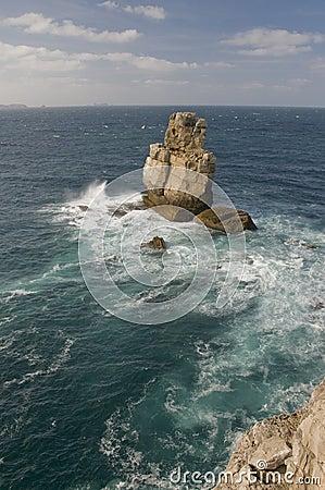 Heavy sea near the rock