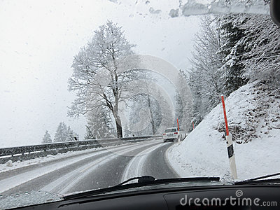 Heavy Snow on a Bavarian pass road Editorial Stock Image