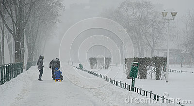 Heavy snow in Bucharest Editorial Image