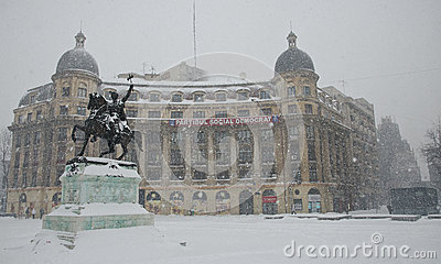 Heavy snow in Bucharest Editorial Stock Photo