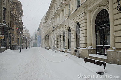 Heavy snow in Bucharest Editorial Stock Image