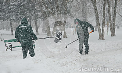 Heavy snow in Bucharest Editorial Photography