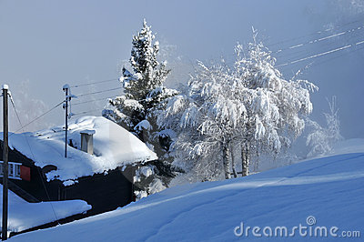 Heavy snow on a log cabin