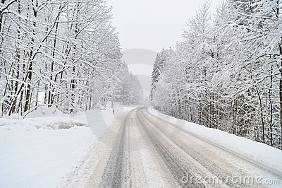 Road covered by snow.