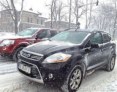 Heavy snow slowing traffic Editorial Photo
