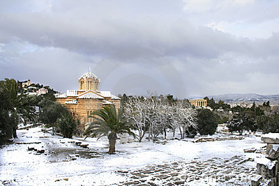 Heavy snow storm hits Athens Editorial Photo