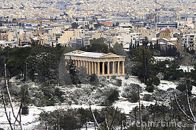 Heavy snow storm hits Athens, Greece Editorial Photography