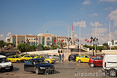 Heavy traffic close to city hall of Tunis, Tunisia Editorial Stock Photo