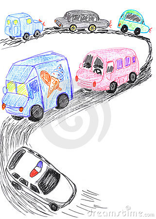 Heavy traffic on road, cars sketch