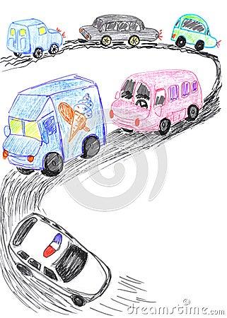 Heavy traffic on road, cars sketch