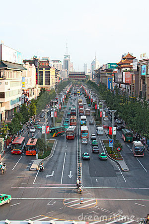 Heavy traffic in Xi an,  China Editorial Stock Image