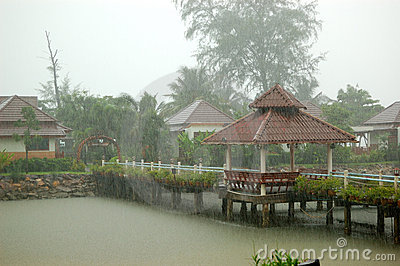 Heavy tropical rain at the resort