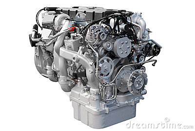 Heavy truck engine isolated