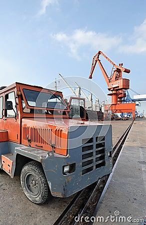 Heavy truck in the harbor