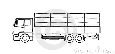 Heavy truck with tarpaulin