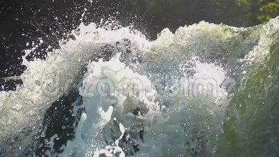Heavy water torrent running rapidly downhill, splashes closeup. Stock footage stock video footage