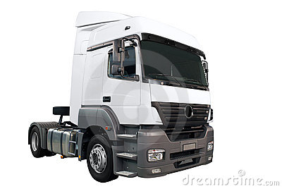 Heavy white truck isolated