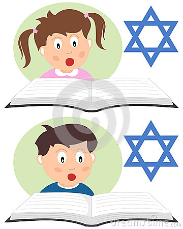 Hebrew Kids Reading a Book