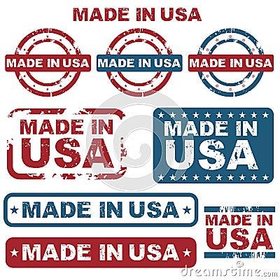 Hecho en sellos de los E.E.U.U.