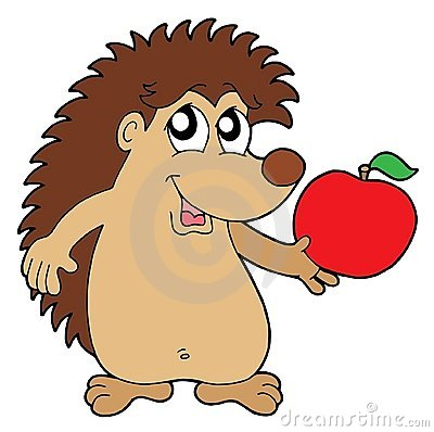 Hedgehog with apple vector illustration