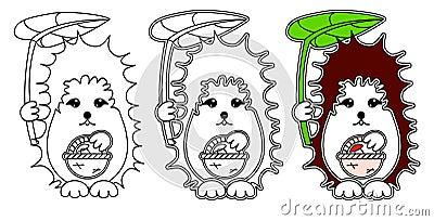 Hedgehog coloring vector