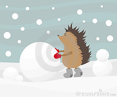 Hedgehog creating a snowman