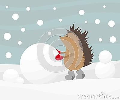 Hedgehog creating a snowman