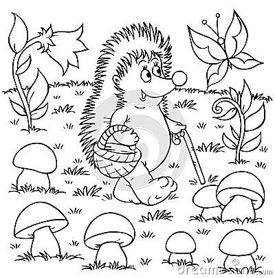 Hedgehog gathers mushrooms
