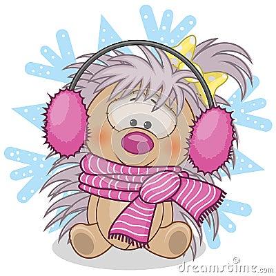 Free Hedgehog In A Fur Headphones Royalty Free Stock Image - 46924206
