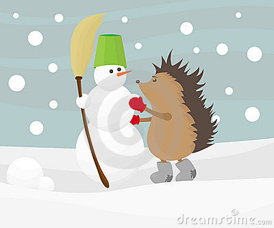 Hedgehog with a snowman