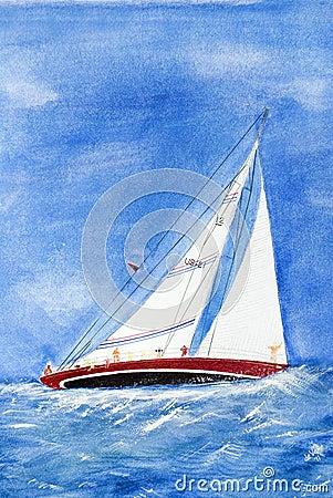 watercolor sailboat on high seas