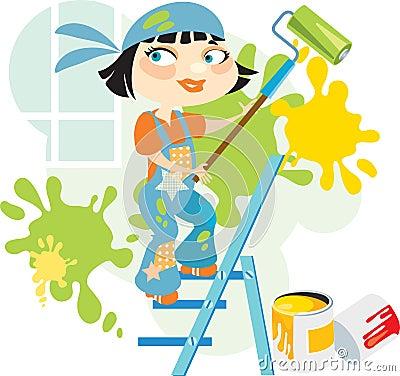 Сheerful house painter