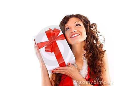 Heerful santa helper girl