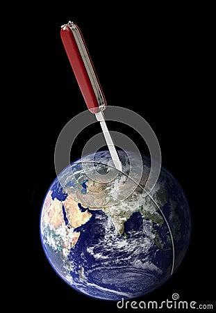 Heftige Trennung von Erde