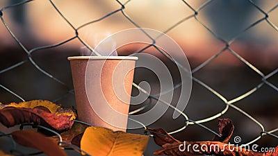 Heißer Kaffee in Papiertasse verdampfen stock video footage