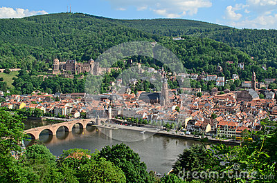Heidelberg Castle, old town and Neckar River