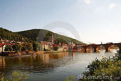 Heidelberger Old Bridge and Neckar at summer
