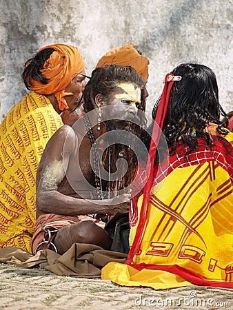 Heilige sadhu in Nepal Redactionele Stock Afbeelding