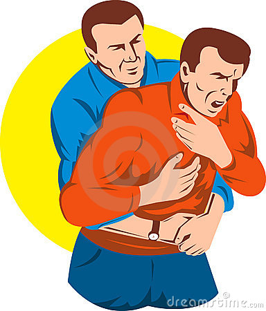 Free Heimlich Maneuver On Adult Stock Photography - 9335852
