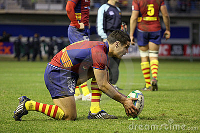Heineken Cup rugby match USAP vs Leicester Editorial Stock Photo