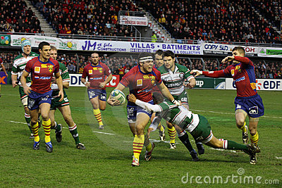 Heineken Cup rugby match USAP vs Leicester Editorial Image