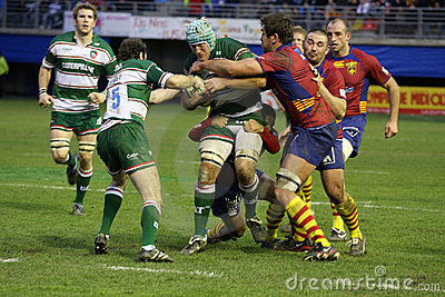Heineken Cup rugby match USAP vs Leicester Editorial Stock Image