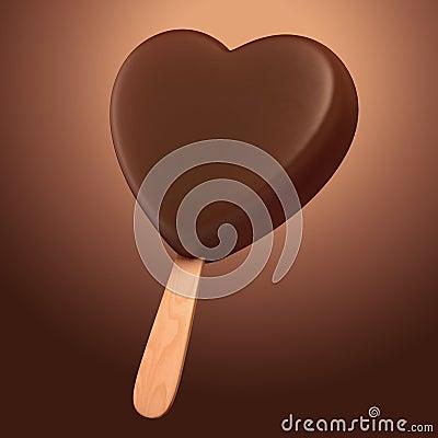 Helado en forma de corazón del chocolate oscuro delicioso