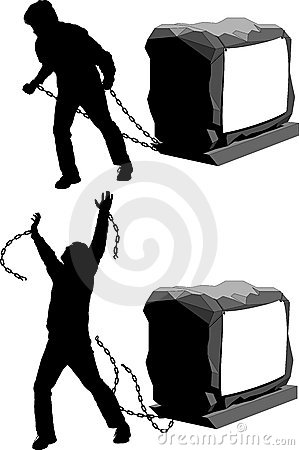 Man held back and then breaking the chains to gain freedom illustration : Dreamstime