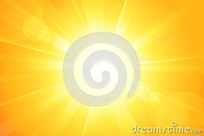 Heldere zon met lensgloed